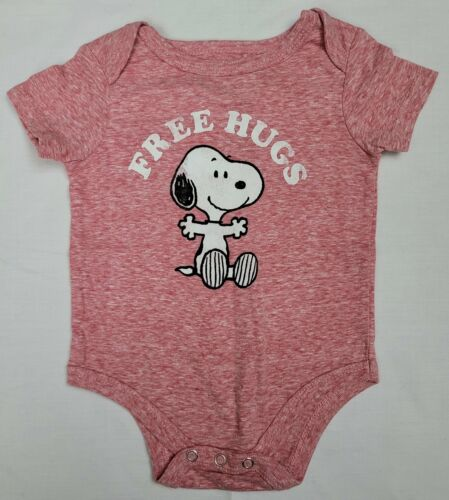 Snoopy Peanuts Free Hugs Infant Baby One Piece Newborn NB 3 6 9 18 Months