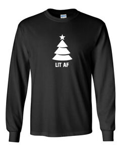 Men-039-s-Lit-AF-T-shirt-Christmas-Tree-T-Shirt-Xmas-Party-Funny-Humor-Joke-Tee