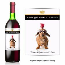 PERSONALISED cheeky sausage dog Dachshund wine bottle label Birthday gift