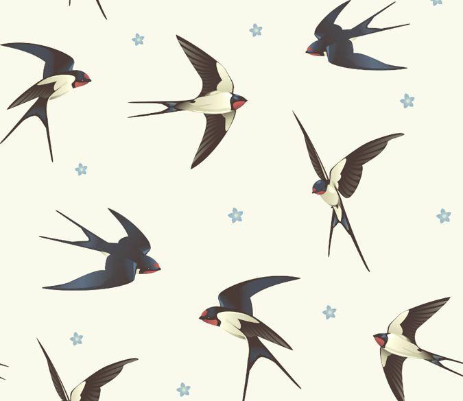 3D Swallows fly1 WallPaper Murals Wall Print Decal Wall Deco AJ WALLPAPER