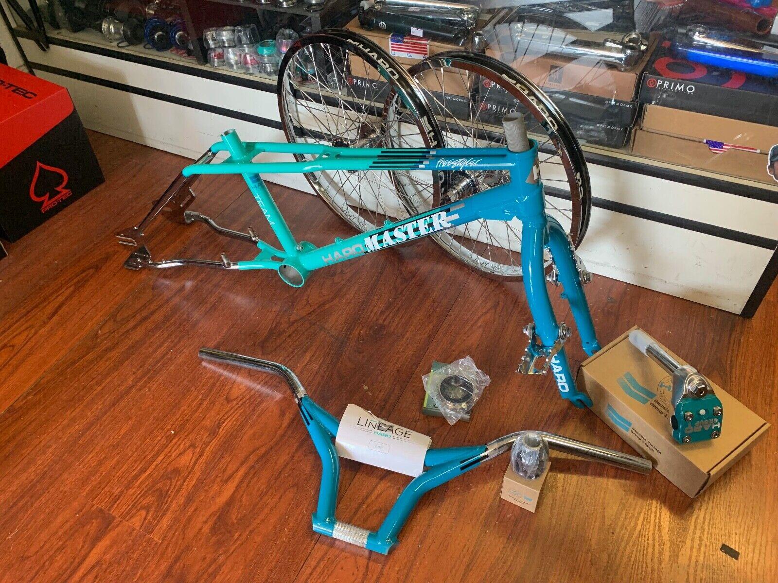 Haro 2018 1988 Team Master Vintage Cadre Kit Kneesavers Turquoise Chrome Rétro
