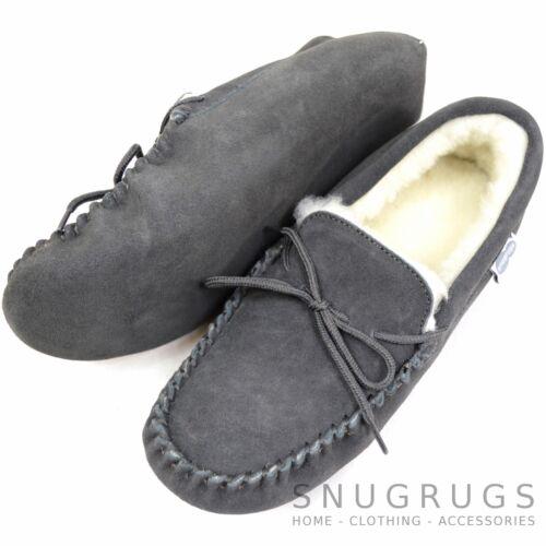 SNUGRUGS Mens Genuine Suede Moccasin Sheepskin Slippers Soft Suede Sole