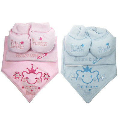 Newborn Cute Baby Prince Princess Bib Hat Booties Boys Girls Pink Blue Gift Set