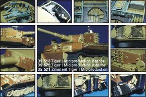 Eduard 1/35 Zimmerit Tiger I Medio Prod para Usar Con ACADEMY Kits #35521