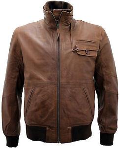Men/'s leather jacket collo in pelliccia Cafe Racer Retrò Da Motociclista Giacche invernali per uomo