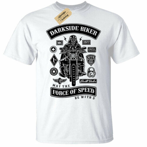 Dark Side Biker T-Shirt Mens speed force be with you sith star motorcycle white