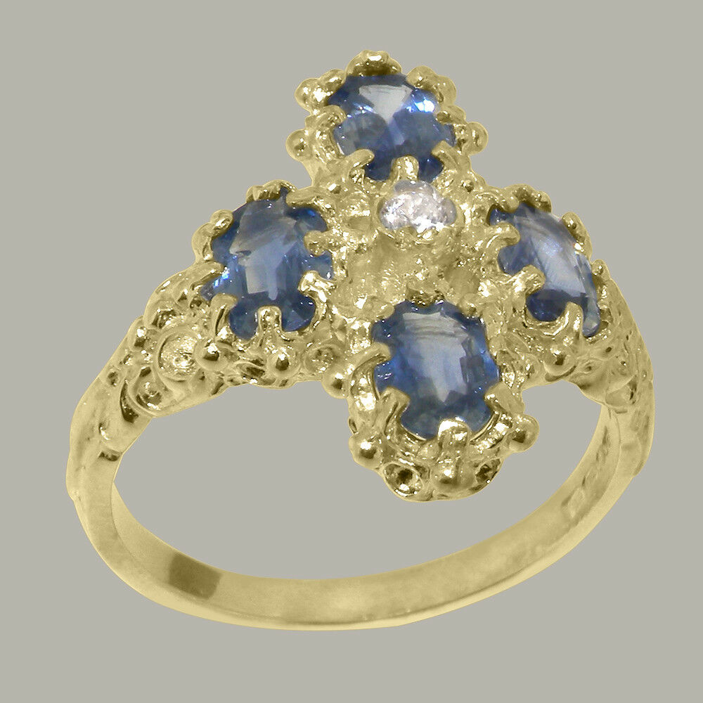 14ct Yellow gold Cubic Zirconia & Sapphire Womens Cluster Ring - Sizes J to Z