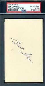 Bart Starr PSA DNA Coa Autograph Hand Signed 3x5 Index Card