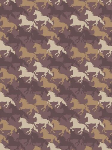 Farley Mount Galloping Horses on Chocolate Cotton Fabric