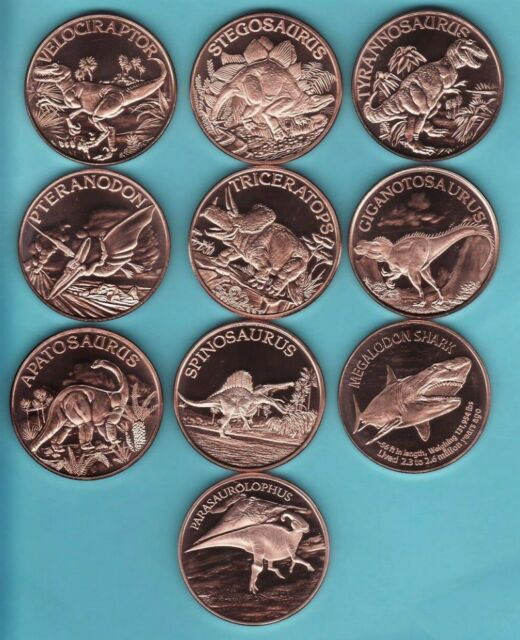 "Copper Round Coin Set   AMERICAN WILDLIFE  Series  /""10 COIN SET/"" 1 oz Coins"