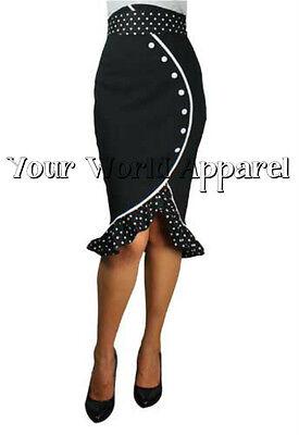 Super Sexy Black High Waist Rockabilly Pin Up Ruffled Pencil Skirt Polka Dots