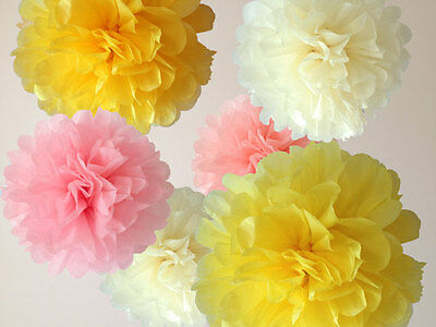 "10pcs 6"" paper pom poms tissue flower wedding bridal baby shower party decorate"