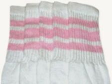 """25"""" KNEE HIGH WHITE tube socks with BABY PINK stripes style 1 (25-5)"""