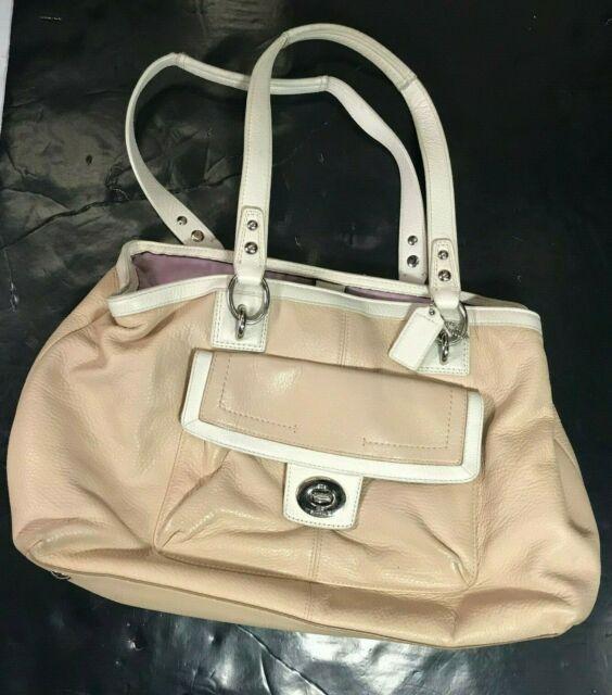 Coach F19044 Large Beige Penelope Leather Carryall Shoulder Purse Bag Euc