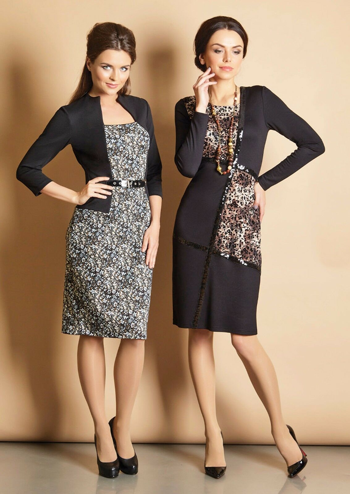 DRESS WEAR TO TO TO WORK STRETCH CASUAL LONG SLEEVE KNEE-LENGTH MADE IN EUROPE S L XL cf927a