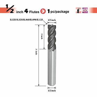 "USA 1//2/"" 2 Flute Single End Bright Carbide End Mill with .125/"" Corner Radius"