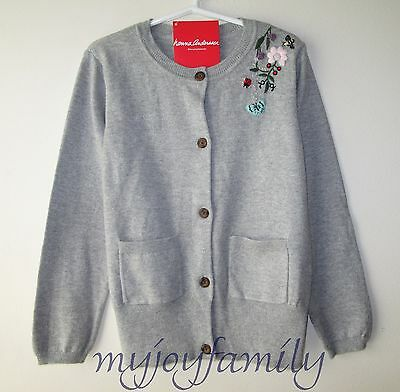 HANNA ANDERSSON Embroidered Soft Cardigan Sweater Heather Grey 120 6-7 NWT
