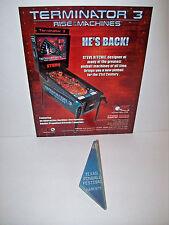 PINBALL MACHINE Original NOS Flyer + Plastic Promo Keychain Stern TERMINATOR 3