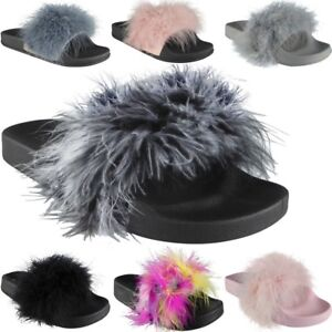 New-Womens-Ladies-Rubber-Multi-Pom-Pom-Sliders-Flats-Shoes-Slides-Slippers-Size