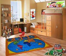 World Map Kids Area Rug 5' x 7' Children Earth Carpet -  Non Skid Gel Backing