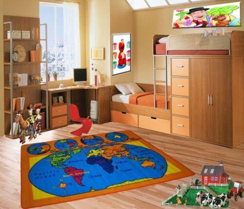 Non Skid Gel Backing World Map Kids Area Rug 5/' x 7/' Children Earth Carpet