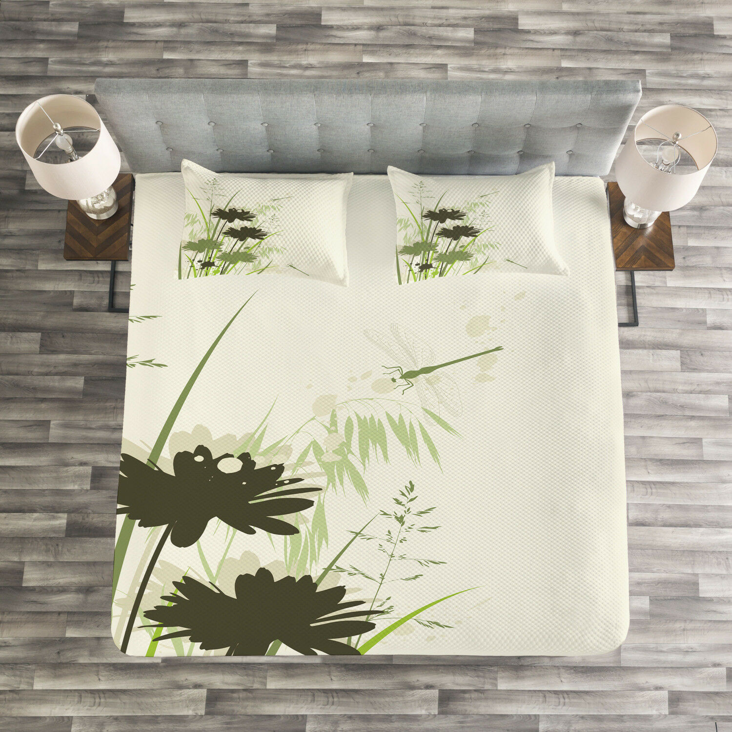 Grün Quilted Bedspread & Pillow Shams Set, Flowers Leaves Dragonfly Print