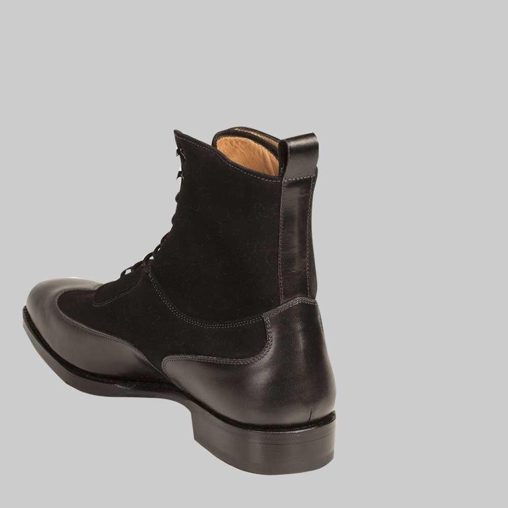Para hombre mano hecho a mano hombre color Negro Tobillo Bota De Cuero Hombres Cordones Botas al tobillo de extremo de ala 60de59