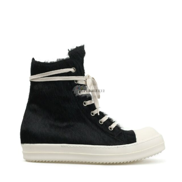 dcbc1a1a7109be Rick Owens Pony Hair High Top SNEAKERS Leather for sale online