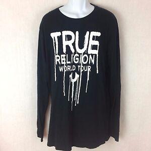 Herren-Schwarz-Langarm-True-Religion-World-Tour-Farbe-Tropft-T-Shirt-Groesse-XL-NEU