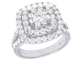 14K-Oro-Blanco-Autentico-vs-Diamante-Cuadrado-Halo-Racimo-Anillo-de-Compromiso-2