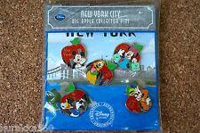 NY New York Disney Store Trading 5 Pin Set - Big Apple Mickey Minnie Pluto 81025
