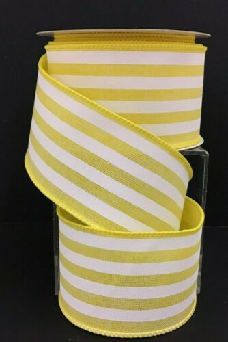"Cotton Stripe Wired Edge Ribbon~Yellow White~2 1//2/"" W x 10 yd"