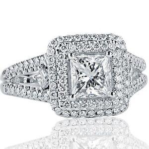 1-81-Ct-E-Vs2-Anillo-Compromiso-Corte-Diamante-Princesa-18Ct-Oro-Blanco-Separado