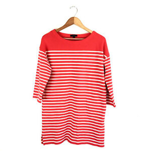 J-Crew-Sweater-Shift-Dress-Size-Medium-Orange-and-White-Stripe-100-Cotton-I