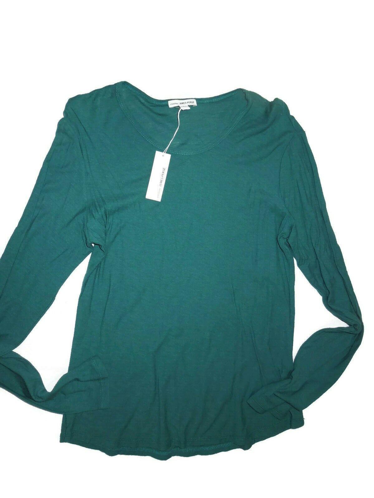 James Perse damen Grün Long Sleeve Crew t- Shirt Größe 2    Medium retail