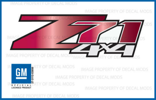 GRRUBY Z71 4x4 Chevy Silverado 07-13 Decals Stickers Fade Red Ruby set of 2