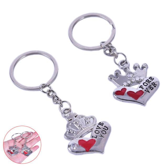2Pcs Novelty Fashion Crown Love Heart Keyring Couple Keychain Key Ring GiftTOCA