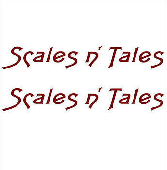 "/""Scales n Tales/"" PAIR OF BOAT YACHT NAMES DECAL STICKER GRAPHICS Colour Choice"