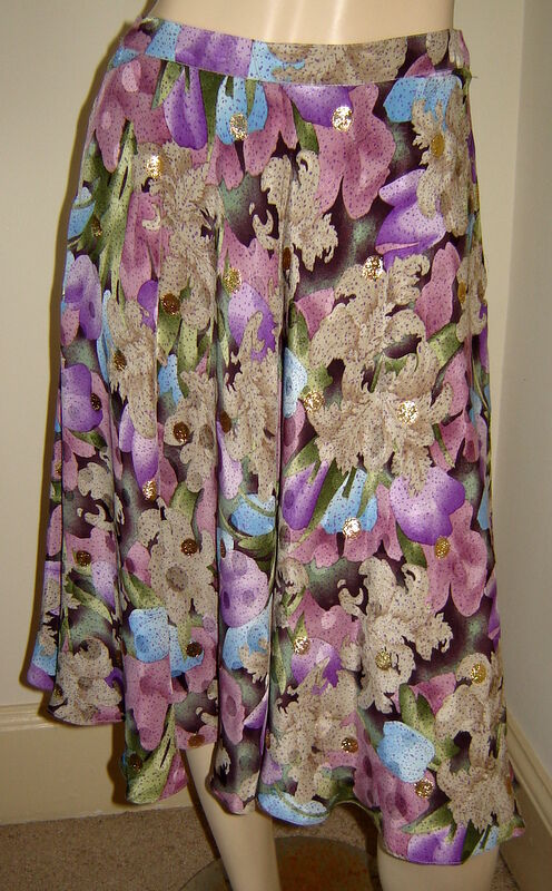 ANNE CRIMMINS for UMI COLLECTIONS Shimmering Purple Floral Full Silk Skirt (6)