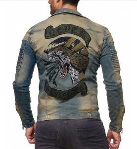 Kingz-surrender-Biker-Mens-Jeans-Jacket-Denim-Biker-Jacket-Blue-All-Sizes-New