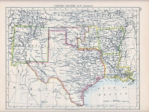 1894 Victorian Map United States South West Central Texas New