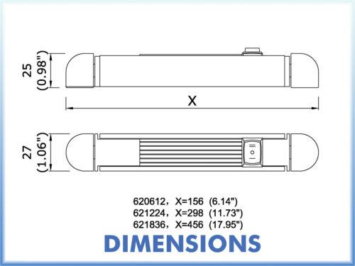 "LED 18/"" Rail light 12V White Surround Warm White Boat Yacht Caravan Horsebox"