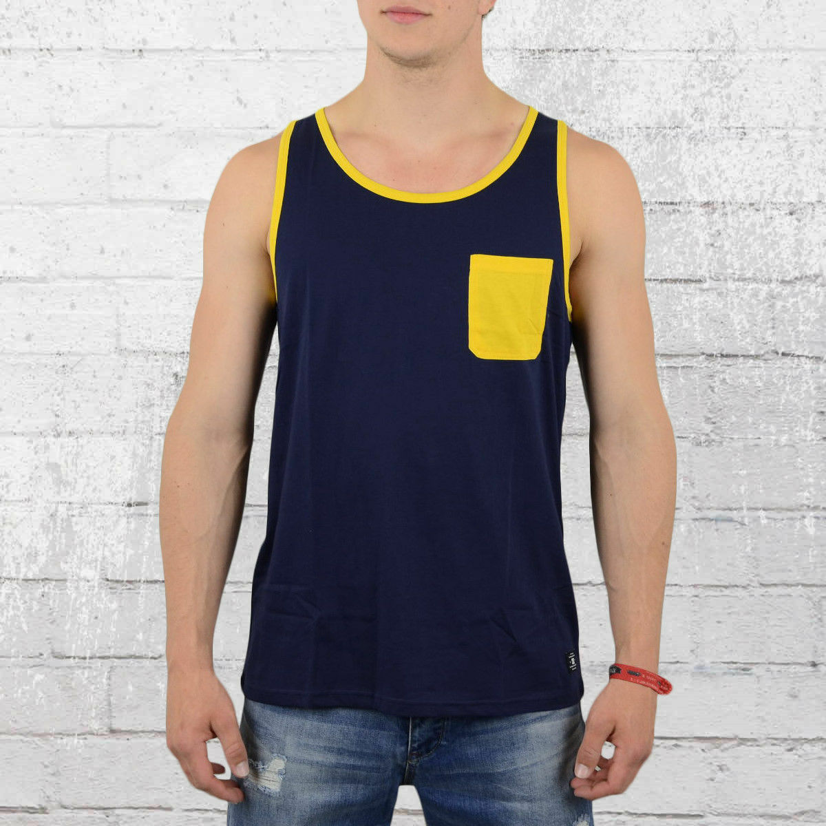 DC Chaussures Contra Top Tank Top Contra Pocket Hommes Bleu Jaune Poitrine Sac Hommes Muscle Shirt b36693