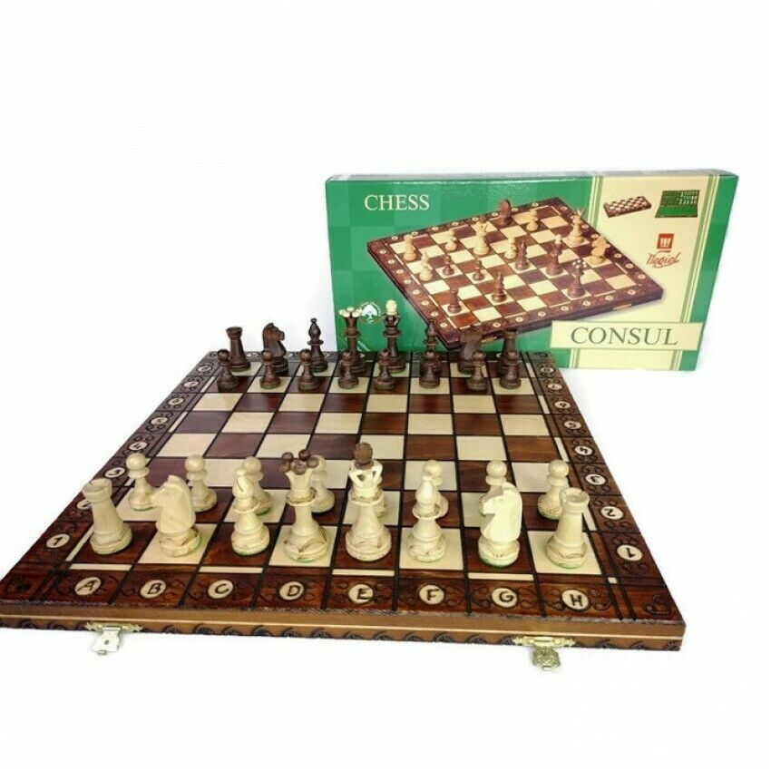 Beautiful Handcrafted Wooden Burned Chess Set CONSUL, 48x48 cm Renowned Brand