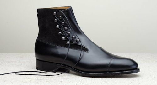 Handmade Men black lace up ankle boots, Mens fashion fashion fashion cap toe ankle leather boots 154b69