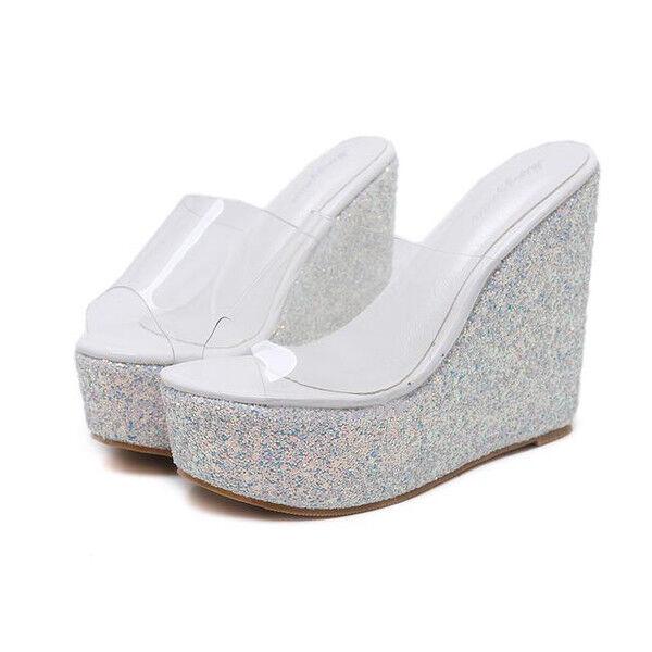 Sandale sabot bianco ciabatte 12 cm zeppa platform simil pelle eleganti 1034