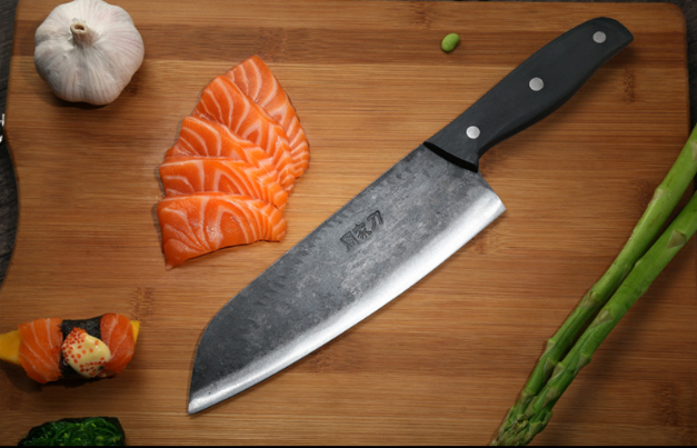 Handmade Butcher Knife Forged Steel Kitchen Fish Slicing Bone Chop Cut Wood Hand