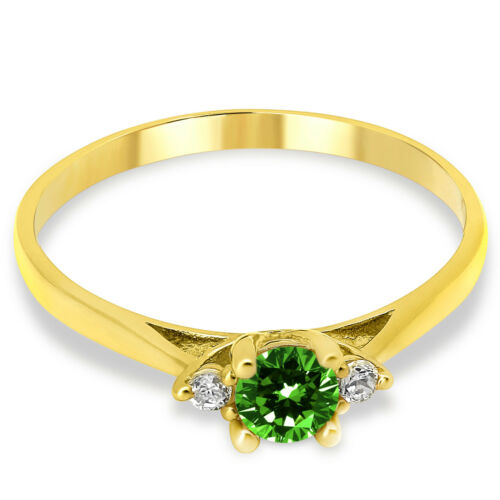 14K Solid Yellow Gold Lab Created Emerald Three Stone Engagement Promise Ring