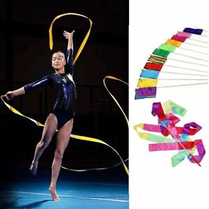 1Pc 4M Sport Gym Dance Ribbon Art Rhythmic Gymnastic Streamer Twirling Rod Stick