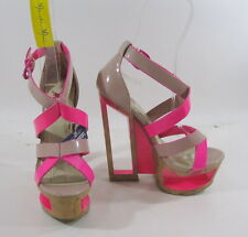 "New  nude/pink 6""wedge high heel  2""platform sandals shoes by shiekh SIZE 6.5  p"